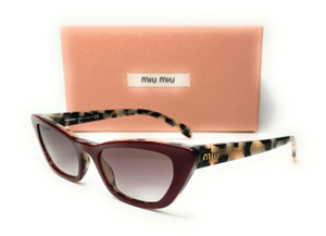 Miu Miu SMU 10U 03E-0A7 Beige Havana Top Bordeaux Grey Women's Sunglasses 53mm