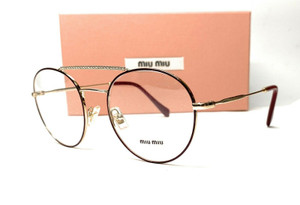 MIU MIU VMU 51R R1J-1O1 Garnet Bordeaux Demo Lens Women's Eyeglasses 52mm