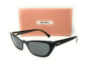 Miu Miu SMU 10U 2AF-175 Black Dark Grey Flash Women's Sungasses Cat Eye 53mm