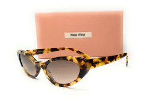 Miu Miu SMU 09U 7S0-QZ9 Light Havana Brown Grad Women's Sunglasses Cat Eye 53mm