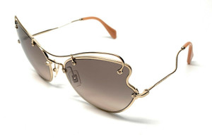 MIU MIU SMU 56R ZVN-3D0 PALE GOLD GRADIENT AUTHENTIC SUNGLASSES 61 mm