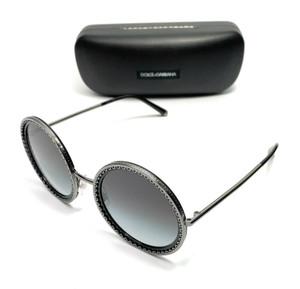 Dolce & Gabbana DG2211 04/8G Black Round Women's Authentic Sunglasses 53 mm