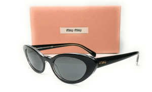 Miu Miu SMU 09U 2AF-175 Black On Transparent Dark Grey Women's Sunglasses 53mm
