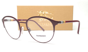 BURBERRY BE1318 1250 Bordeaux Women's Round Eyeglasses 51 mm