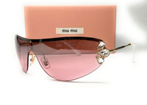 MIU MIU SMU 66U ZVN-7L1 Gold Women's Sunglasses 48 mm