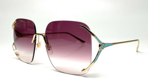 GUCCI GG0646S 003 Round Oval Gold Light-Blue Gold Violet 60m Women's Sunglasses