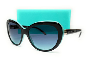 TIFFANY TF4122 80559S Black Blue Cat Eye Round Women's Sunglasses 56 mm