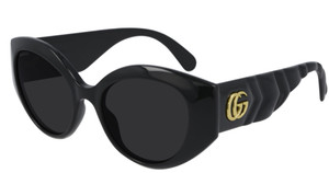 GUCCI GG0809S 001 Black Grey Round Cat Eye Women's Sunglasses 52 mm
