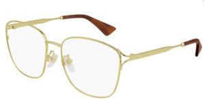 GUCCI GG0819OA 001 Gold Square  Women's Eyeglasses 56 mm