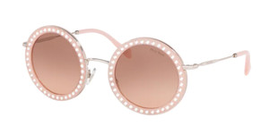 MIU MIU SMU 59U 153-0A5 Pink Round Women's Sunglasses 48 mm