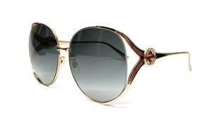 GUCCI GG0225S 001 Gold Grey Gradient Women's Sunglasses 63 mm