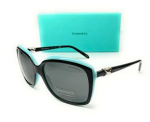 Tiffany TF4076 80553F Black Blue Women's Square Sunglasses 58-17