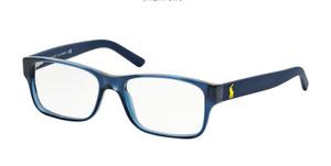 Ralph Lauren Polo PH2117 5470 Shiny Blue Rectangle Men's 54 mm Eyeglasses