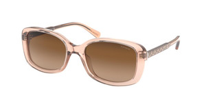 COACH HC8278F 556174 Transparent Peach Rectangle Women's 55 mm Sunglasses