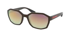 PRADA SPS 02V VYY-739 Brown Rubber Square Oval Men's 57 mm Sunglasses