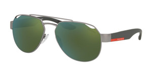 PRADA SPS 57U DG1-3C0 Gunmetal Rubber Square Pilot Men's 59 mm Sunglasses