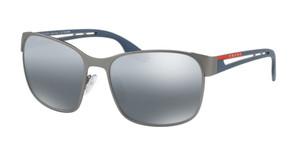 PRADA SPS 52T DG1-2F2 Gunmetal Rubber Square Polarized Men's 59 mm Sunglasses