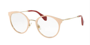 MIU MIU VMU 51P UST-1O1 Pale Gold Women's Round 50 mm Eyeglasses