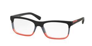 PRADA VPS 05FF TWS-1O1 Black Rectangle Men's 55 mm Eyeglasses