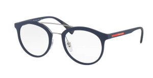PRADA VPS 01H U6W-1O1 Blue Rubber Round Men's 50 mm Eyeglasses