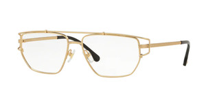 VERSACE VE1257 1410 Matte Gold Rectangle 55 mm Men's Eyeglasses