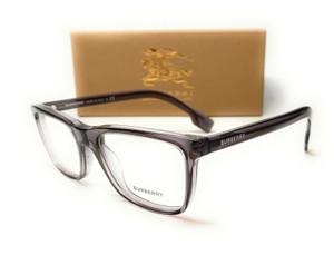Burberry BE2292 3801 Transparent Grey Demo Lens Men Rectangle Eyeglasses 55mm