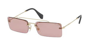 MIU MIU SMU 59T ZVN-9G1 Pale Gold Rectangle Women's 58 mm Sunglasses