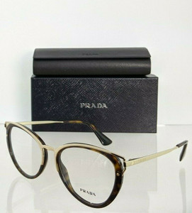 PRADA VPR 53U 2AU-1O1 Havana Gold Cat Eye Women's 52 mm Eyeglasses