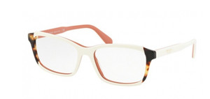 PRADA VPR 01V 0R9-1O1 White Havana Square Women's 55 mm Eyeglasses
