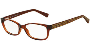 ARMANI EXCHANGE AX3009F 8063 Brown Transp Rectangle Women's 53 mm Eyeglasses