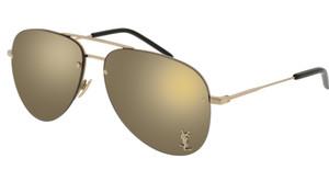 SAINT LAURENT CLASSIC 11 M 004 Gold Aviator Women's 59 mm Sunglasses