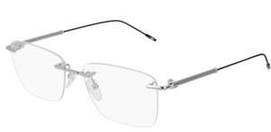 MONT BLANC MB0038O 001 Silver Rectangle Men's 55 mm Eyeglasses
