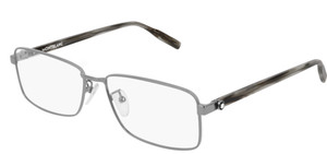 MONT BLANC MB0016O 003 Ruthenium Rectangle Men's 57 mm Eyeglasses