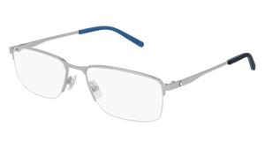 MONT BLANC MB0107O 003 Silver Rectangle Men's 56 mm Eyeglasses