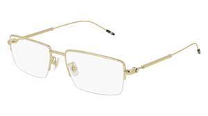 MONT BLANC MB0113O 002 Gold Rectangle Men's 56 mm Eyeglasses
