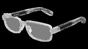 MONT BLANC MB0034O 002 Silver Rectangle Men's 56 mm Eyeglasses