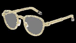 MONT BLANC MB0111O 002 Gold Round Men's 49 mm Eyeglasses