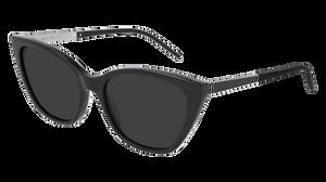 SAINT LAURENT SL M69 001 Black Silver Cat Eye Women's 56 mm Sunglasses