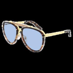 GUCCI GG0672S 004 Aviator Havana Shiny Gold Blue 58 mm Men's Sunglasses