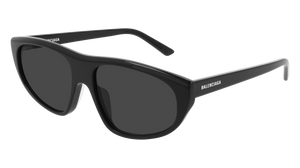BALENCIAGA BB0098S 001 Black Oval Men's 60 mm Sunglasses