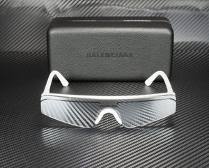 BALENCIAGA BB0003S 002 Rectangular Square White Silver 99 mm Unisex Sunglasses