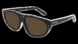 BALENCIAGA BB0098S 002 Havana Rectangle Oval Men's 60 mm Sunglasses