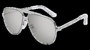 BALENCIAGA BB0013S 002 Silver Aviator Unisex 59 mm Sunglasses