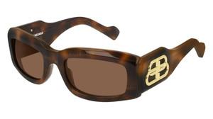 BALENCIAGA BB0071S 002 Havana Rectangle Women's 54 mm Sunglasses