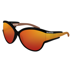 BALENCIAGA BB0038S 004 Black Oval Round Women's 63 mm Sunglasses