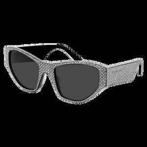 BALENCIAGA BB0097S 001 Silver Black Rectangle Women's 54 mm Sunglasses