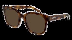 BALENCIAGA BB0076SK 002 Square Havana Unisex 52 mm Sunglasses