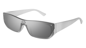 BALENCIAGA BB0080S 002 Ruthenium Rectangle Men's 99 mm Sunglasses
