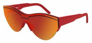 BALENCIAGA BB0004S 003 Red Shiny Oval Round Unisex 99 mm Sunglasses