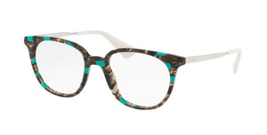PRADA VPR 13U KJJ-1O1 Striped Grey Oval Women's 50 mm Eyeglasses